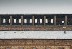 Замок Sforza, итальянка: Castello Sforzesco, в милане, северной Италии Оно было построено в XV веке на Стоковые Изображения RF