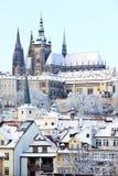 Замок Snowy Праги готический Стоковая Фотография RF