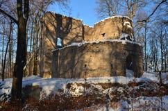 Замок Snowy Bolczow Janowice Wielkie Понизьте Силезию Польша Стоковые Фотографии RF
