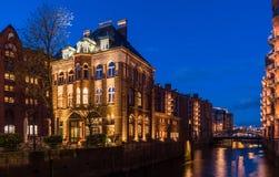 Замок Speicherstadt воды Стоковые Изображения