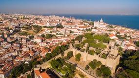 Замок St. George и Река Tagus Лиссабон осматривают сверху Стоковое Изображение