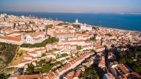 Замок St. George, Река Tagus и Miradouro da Graca Лиссабон осматривают сверху Стоковое Изображение