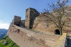 Замок Templar Monzon арабского десятого века Уэски Испании начала стоковая фотография rf