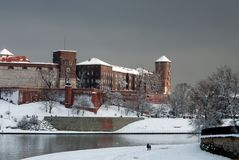 Замок Zamek Wawel в Кракове и Река Висла в зиме Стоковая Фотография RF