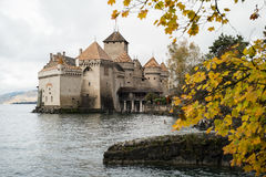 Замоок de Chillon в Монтрё Во, озере Женев, Швейцарии Стоковое фото RF