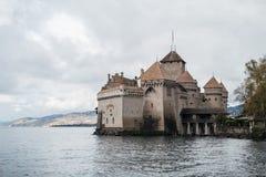 Замоок de Chillon в Монтрё Во, озере Женев, Швейцарии Стоковые Изображения RF