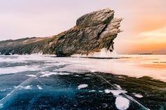 Замороженная вода Lake Baikal, сезон зимы Siveria России стоковые изображения