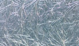 Замороженная картина рамки украшения окна лед цветет текстура Фотография натюрморта зимы конец-вверх, малая глубина  Стоковая Фотография RF