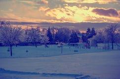 Замороженная спортивная площадка после шторма льда - ретро Стоковое Фото