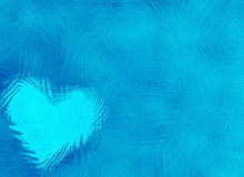 Замороженная стеклянная абстрактная текстура зимы с сердцем Стоковое Изображение RF
