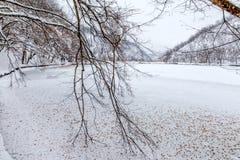 Замороженное зимнее время озера Стоковые Изображения