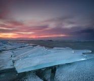 Замороженное море во время захода солнца Стоковые Фото