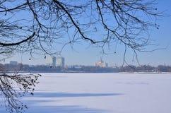 Замороженное озеро город Стоковая Фотография RF