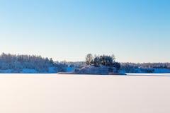 Замороженное озеро с льдом и снегом Стоковые Изображения
