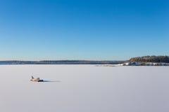 Замороженное озеро с льдом и снегом Стоковое Изображение