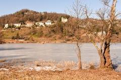 Замороженное озеро Muzzano около Лугано Стоковые Изображения