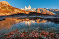 Замороженное отражение Monte Fitz Роя Cerro Chalte Стоковая Фотография RF