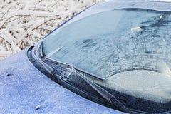 Замороженное переднее лобовое стекло автомобиля Стоковое Изображение