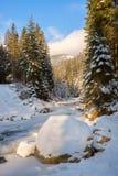 Замороженное река в лесе зимы во время захода солнца Стоковая Фотография