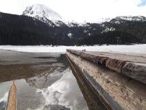 Замороженное черное озеро в wintertime Стоковая Фотография
