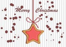 Замороженность украшенная пряником покрашенная Пушистый снежок Качественная иллюстрация вектора на день ` s Нового Года, рождеств Стоковое Фото