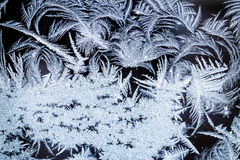 Замороженные ледяные кристаллы зимы на стекле Стоковая Фотография RF