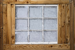 Замороженные кристаллы льда тумана на окне Стоковые Фотографии RF