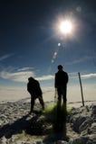 Замороженные озеро и рыболовы Стоковое Фото