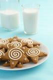 Замороженные печенья звезды пряника с молоком Стоковые Изображения