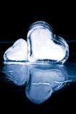 Замороженные сердца в льде Стоковое Фото