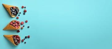 Замороженные ягоды - клубника, голубика, ежевика, поленика в конусах waffle на голубой предпосылке Взгляд сверху знамена стоковые фотографии rf