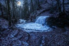 Замороженный водопад в лесе на ноче Стоковые Фотографии RF