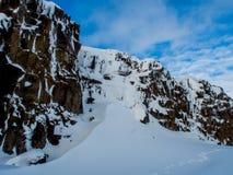Замороженный водопад, национальный парк Thingvellir, Исландия Стоковые Фото