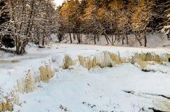 Замороженный водопад Keila-Joa, Эстония Стоковая Фотография RF