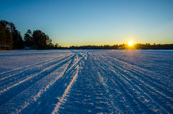 Замороженный заход солнца Стоковая Фотография RF