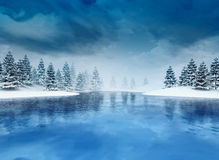 Замороженный залив с деревьями и облачным небом Стоковые Изображения