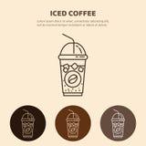 Замороженный значок вектора питья Линейный ресторан, пиктограмма магазина Стоковые Фото