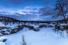 Замороженный каньон в национальном парке Abisko, Швеции стоковое фото