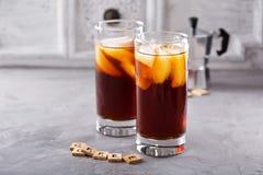 Замороженный кофе в высокорослых стеклах Стоковые Фото
