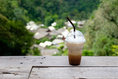 Замороженный кофе в кафе на деревне Kampong Mae Стоковые Изображения