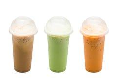 Замороженный кофе, молоко зеленого чая, чай молока Стоковое Изображение