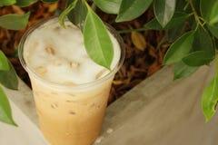 Замороженный кофе на цементе на парке Стоковые Изображения RF