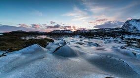 Замороженный поверхностный ландшафт в прибрежной Норвегии сток-видео