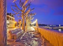 замороженный портовый район озера geneva Стоковая Фотография RF