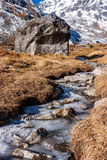 Замороженный поток на треке базового лагеря Annapurna, Непал стоковая фотография