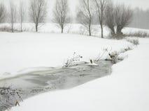 Замороженный поток посреди полей пока идущ снег стоковое изображение rf