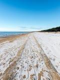 Замороженный пляж моря Стоковые Изображения