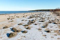 Замороженный пляж моря Стоковые Фото