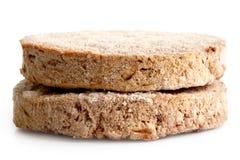 2 замороженных пирожка гамбургера на белизне Стоковая Фотография