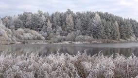 Заморозок в октябре на пруде Bugrovo, область Пскова акции видеоматериалы